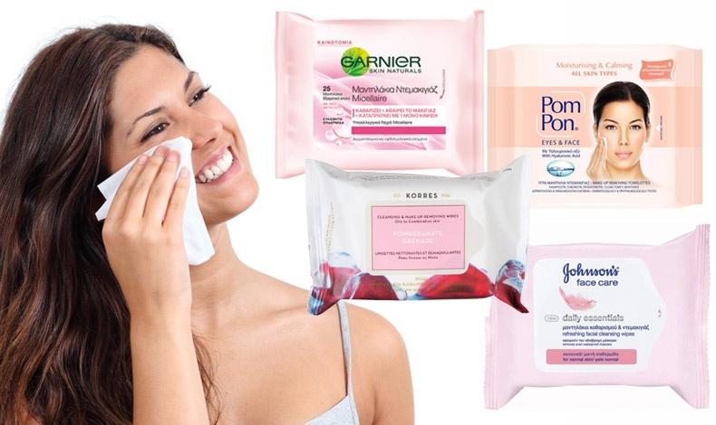 Απαλά μαντηλάκια ντεμακιγιάζ με ίνες μεταξιού, Garnier // Ειδικά για λιπαρά και μικτά δέρματα με εκχύλισμα ροδιού, Korres (στα φαρμακεία) // Εμποτισμένα με υαλουρανικό οξύ και για αδιάβροχο μακιγιάζ, Pom Pon // Απαλό ντεμακιγιάζ και αναζωογόνηση, Johnson's Daily Essentials