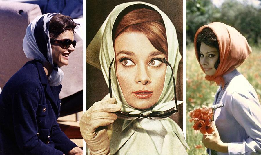 Τζάκι Κέννεντι, Όντρεϊ Χέπμπορν, Σοφία Λόρεν με μαντήλι στη δεκαετία του '60
