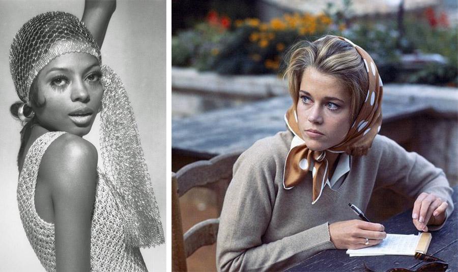 Η Νταϊάννα Ρος με λαμέ διχτυωτό μαντήλι δεμένο στο στιλ του '20 λάμπει στην κυριολεξία! // Η Τζέιν Φόντα σε σκηνή από ταινία του '60