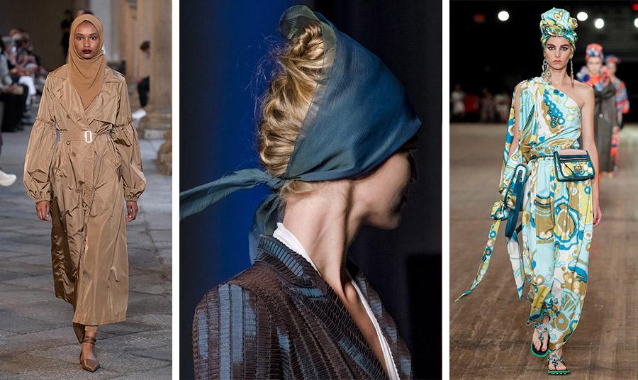 Μονόχρωμα ή πολύχρωμα, τα μαντήλια είναι στη μόδα. Από τις ανοιξιάτικες συλλογές: Max Mara // Jean Paul Gaultier // Marc Jacobs