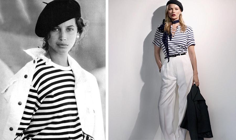 Πολλές φωτογραφήσεις μόδας έχουν γίνει με «πρωταγωνίστρια» τη μαρινιέρα, όπως με την Κρίστι Τέρλιγκτον ή την Κέιτ Μος