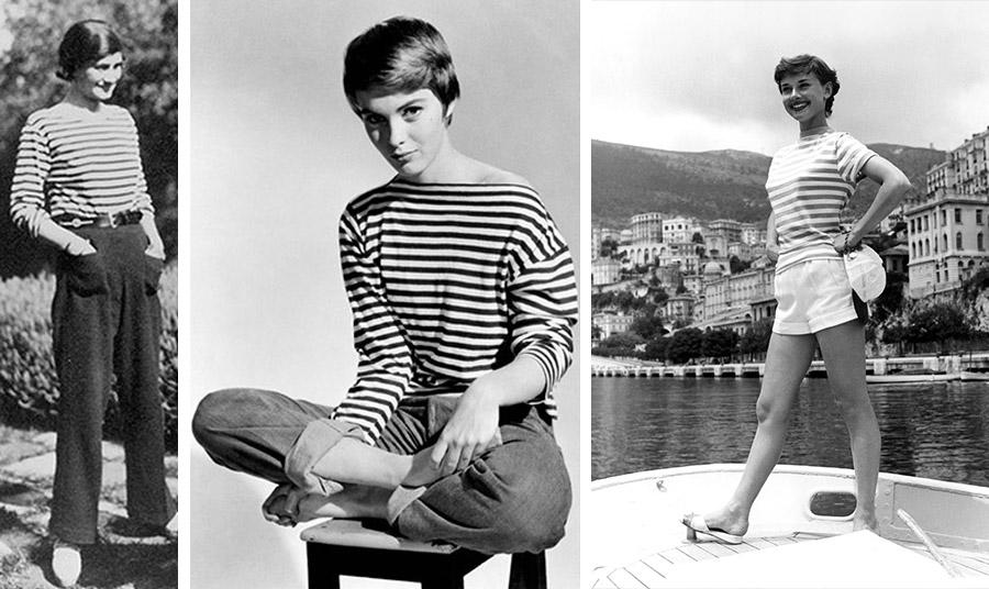 Επηρεασμένη από τη στολή των ναυτών, η Coco Chanel έφερε τη μαρινιέρα στα σαλόνια // Με μαρινιέρα η Jean Seberg // Η Όντρεϊ Χέμπμορν με κλασική μαρινιέρα