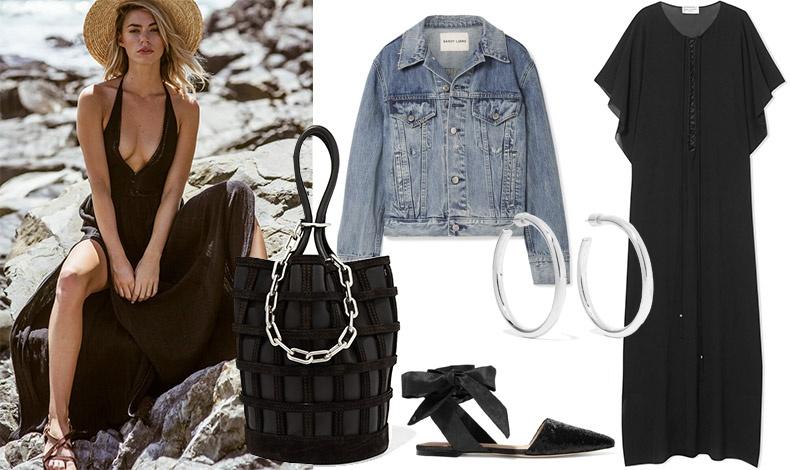 Μαύρο για rock-chic στιλ κι έτοιμες για τα καλοκαιρινά φεστιβάλ! Τζιν σακάκι, Sandy // Μαύρη καπιτονέ τσάντα με ασημένια αλυσίδα, Alexander Wang // Ασημένιοι κρίκοι, Jennifer Fisher // Φλατ παπούτσια με κορδέλα, Sam Edelman // Μακρύ φόρεμα σαν καφτάνι, Saint Laurent