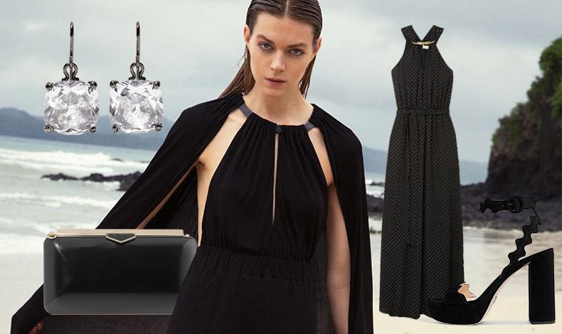 Μία επίσημη εμφάνιση και το καλοκαίρι μπορεί να είναι με total black! Κρεμαστά σκουλαρίκια, Botega Veneta // Clutch, Jimmy Choo // Μακρύ φόρεμα με διακριτικά λευκά πουά και μεταλλική λαιμόκοψη, Michael Kors // Παπούτσια με τετράγωνο τακούνι, Prada