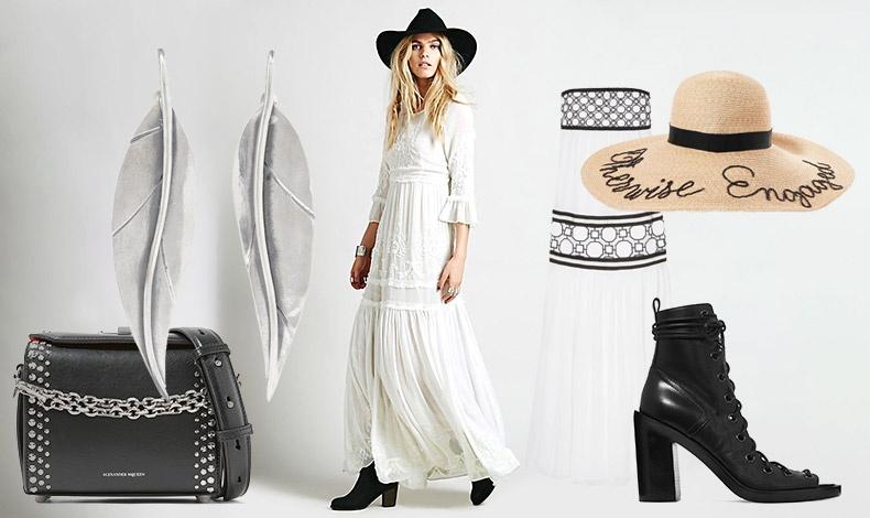 Σκουλαρίκια- φύλλα από ασήμι, Sophie Buhai // Μαύρη τσάντα με ασημένια καρφιά και αλυσίδα, Alexander McQueen // Μακρύ λευκό φόρεμα με κεντήματα, Free People // Εξώπλατο φόρεμα με μαύρα γκράφιτι, Tory Burch // Ψάθινο καπέλο, Eugenia Kim // Μαύρα μποτίνια, Ann Demeulemeester