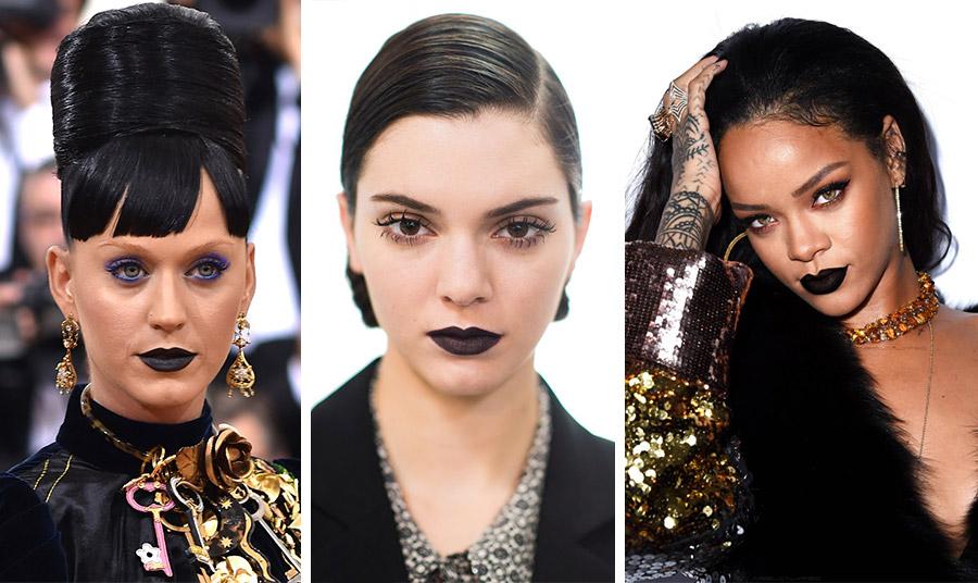 Η Katy Perry με μαύρο κραγιόν και goth στιλ // Η Kendal Jenner  με μαύρα χείλη αλλά με την κομψότητα Dior // Η Rihanna  με μαύρο κραγιόν και λαμπερά ρούχα