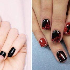 Ροζ και μαύρο σε γεωμετρία // Λαμπερό κόκκινο και μαύρο για βραδινά νύχια