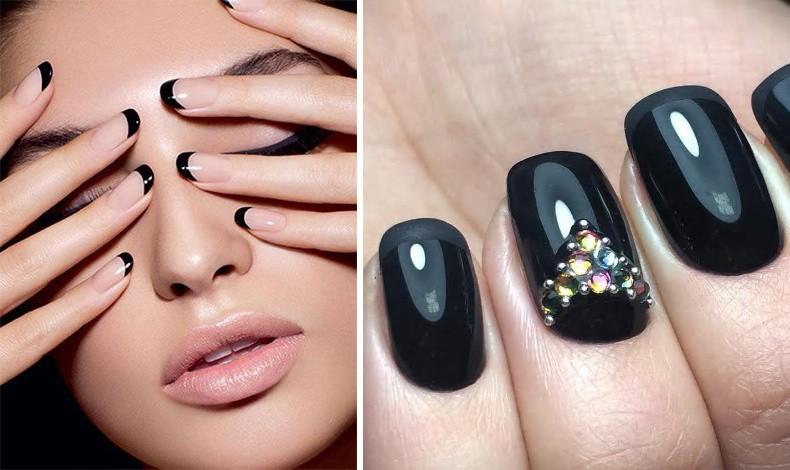 Ένα γαλλικό μανικιούρ αλλά με τελείωμα από μαύρο // Στολίστε ένα νύχι με χρωματιστά στρας για βραδινή εμφάνιση