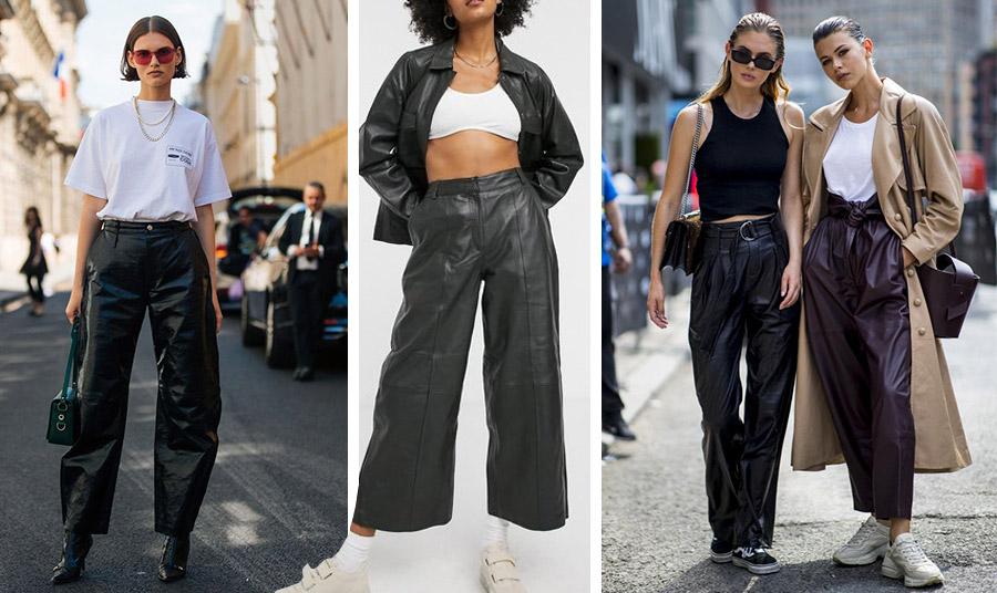 Το δερμάτινο μαύρο παντελόνι είναι και πάλι στη μόδα. Με ένα απλό T-shirt με ένα μπουστιέ, σε φαρδιά γραμμή ή ζυπ κυλότ, διαλέγετε!