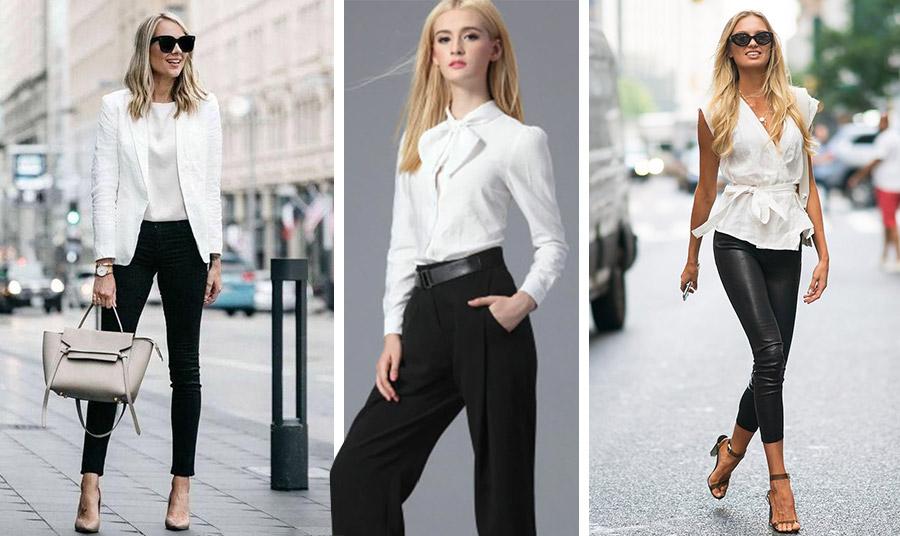 Ο κλασικό συνδυασμός: μαύρο παντελόνι και λευκό πουκάμισο ή μπλούζα αλλά και σακάκι σε όλες τις εκδοχές παραμένει επίκαιρος
