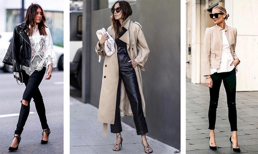 Για τις πιο ψυχρές ημέρες της άνοιξης, συνδυάστε το μαύρο παντελόνι σας με δερμάτινο τζάκετ, μία κλασική γκαμπαρντίνα ή με ένα κοντό σακάκι