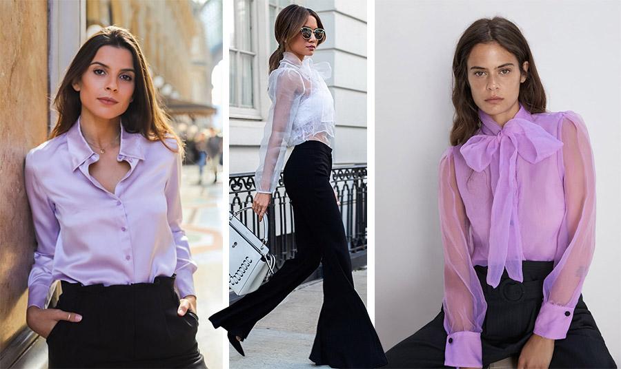 Η τάση είναι ο συνδυασμός ενός ψηλόμεσου μαύρου παντελονιού με υπέροχα ρομαντικά πουκάμισα από μετάξι ή οργάντζα και διαφάνειες. Αν μάλιστα, είναι λιλά, έχει δύο άσους στο λουκ σας!
