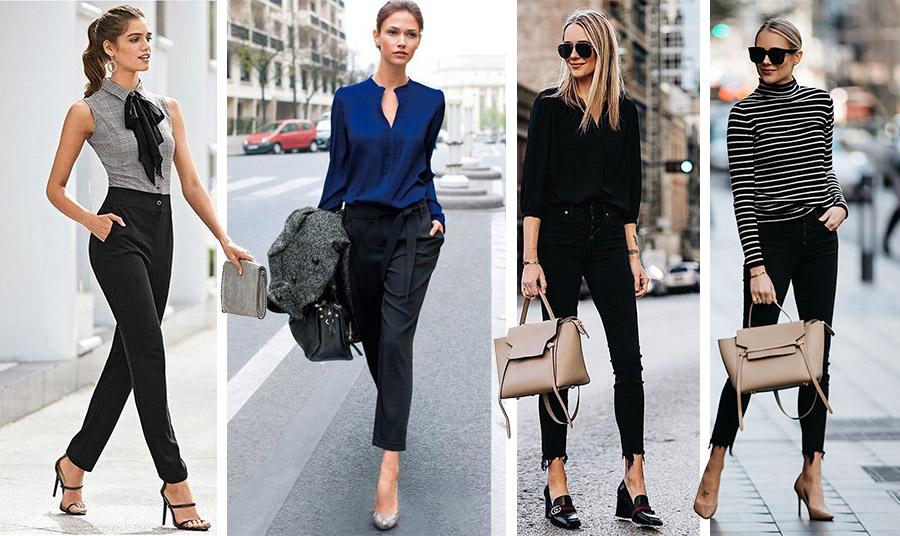 Τα πολλά «πρόσωπα» του μαύρου παντελονιού! Φορέστε ένα κλασικό μαύρο παντελόνι με ψηλοτάκουνα και ρομαντικό τοπ από το πρωί στο γραφείο μέχρι το βράδυ // Συνδυάστε το με ένα μπλε πουκάμισο για όλες τις ώρες // Μαύρο τζιν με μαύρο πουκάμισο ή ριγέ βαμβακερό ζιβάγκο και κρεμ τσάντα για κομψή και casual εμφάνιση