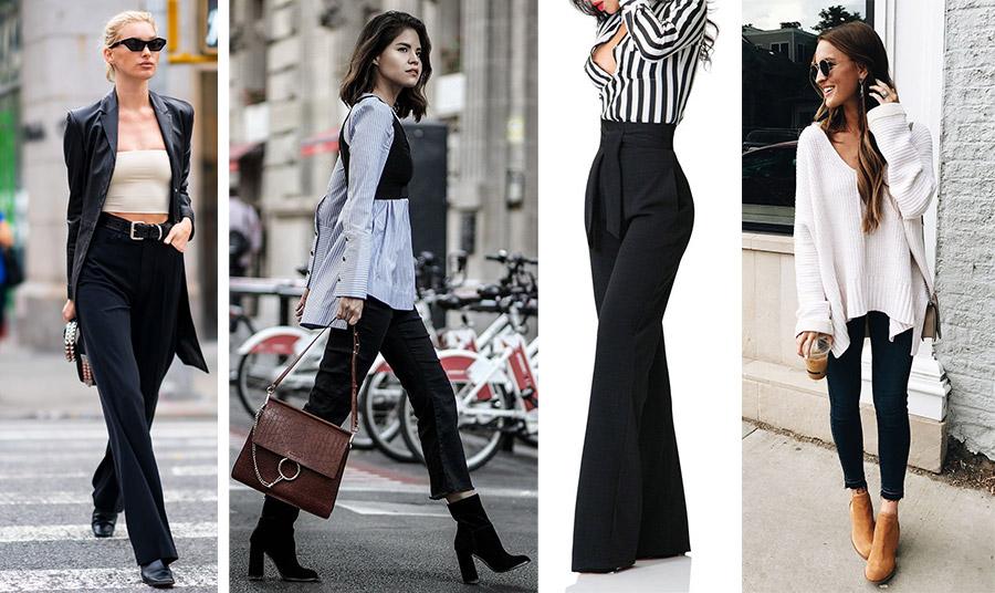 Ο μοντέρνος τρόπος είναι να φορέσετε ένα ψηλόμεσο μαύρο παντελόνι με ένα μπουστιέ και μακρύ μαύρο πανωφόρι // Στενό μαύρο παντελόνι με φαρδύ πουκάμισο και ένα μαύρο tank top // Ψηλόμεσο παντελόνι με φαρδιά μπατζάκια και ένα ριγέ πουκάμισο // Ένα λευκό χαλαρό πλεκτό και μποτίνια για casual look