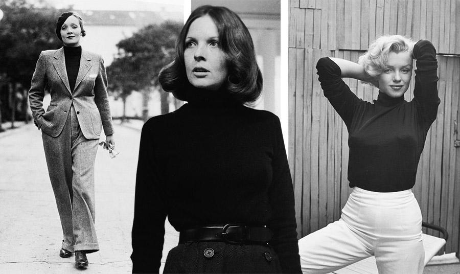Η Μάρλεν Ντίτριχ με το ανδρόγυνο λουκ το έκανε της μόδας τη δεκαετία του '30 // Η Νταϊάν Κίτον με μαύρο ζιβάγκο στην ταινία Νονός το 1974 // Η Μέριλιν Μονρόε σε φωτογράφηση του 1953 με μαύρο ζιβάγκο και ψηλόμεσο παντελόνι