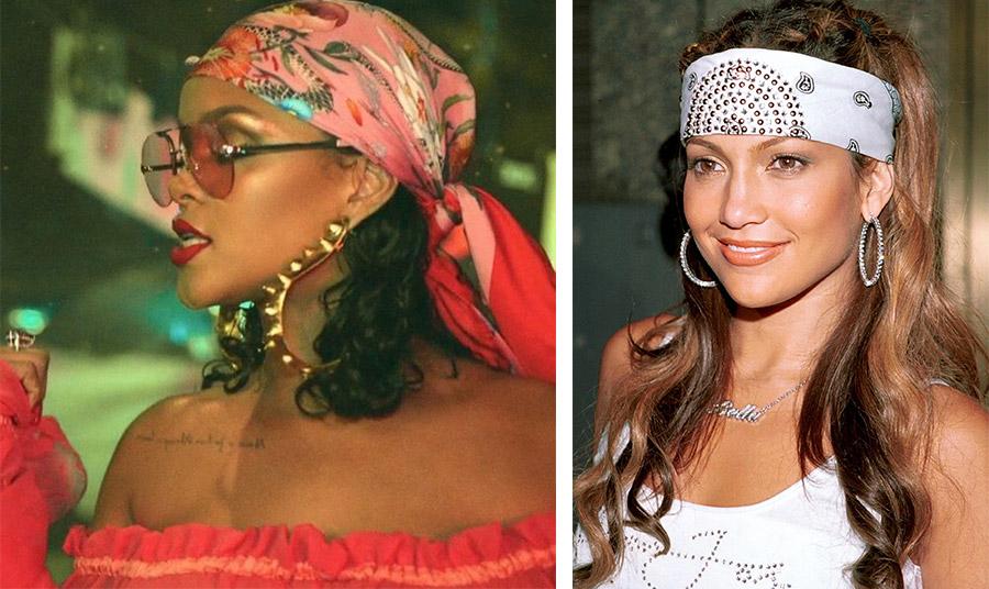 Η Ριχάνα με μεταξωτό μαντίλι και η Τζένιφερ Λόπεζ με πιο ροκ στιλ από τη δεκαετία του 2000