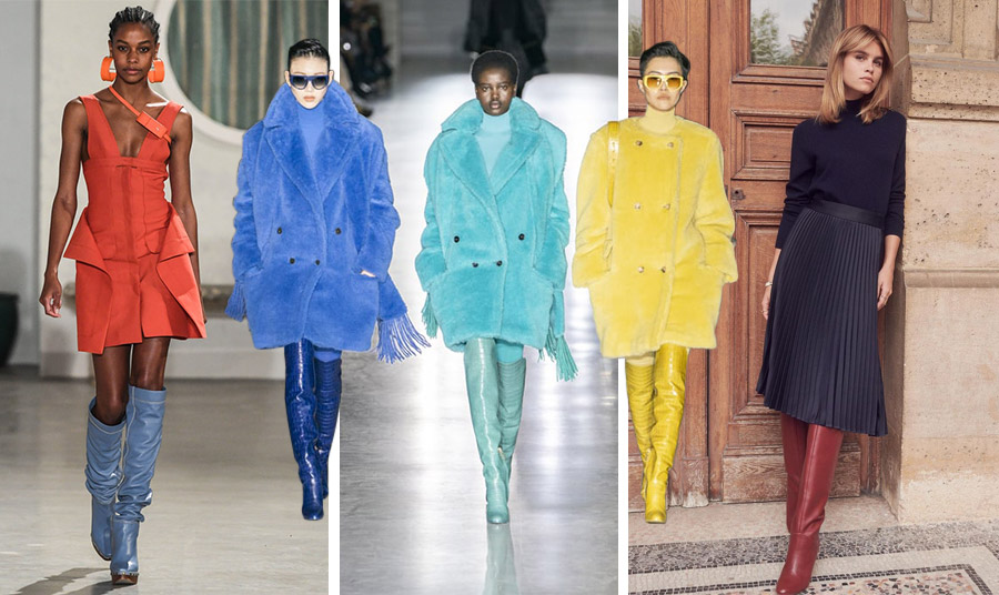 Τα χρώματα… εισβάλλουν και στις μπότες! Σε ιδιαίτερο γαλάζιο, Jacquemus // Μπλε, ανοιχτό πράσινο ή λαμπερό κίτρινο, από την επίδειξη φθινόπωρο 2019-χειμώνας 2020, Max Mara // Ένα ζευγάρι μπορντό μπότες με σκούρο μπλε είναι τέλειες ακόμη και για το γραφείο