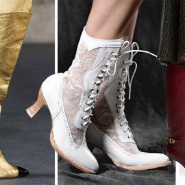 Οι μεγαλύτερες τάσεις στις μπότες για τον χειμώνα 2020 είναι εδώ! Σε αστραφτερό χρυσαφί με στολισμένο τακούνι, Chanel // Με νοσταλγία… βικτωριανή και δαντέλες // Μπορντό μέχρι το γόνατο, Celine