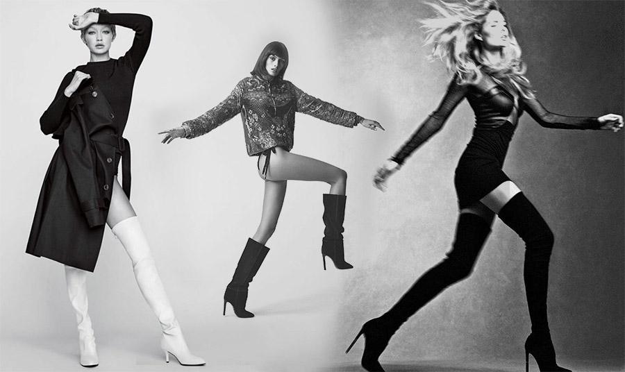 Οι λευκές μπότες είναι πολύ της μόδας! Μία από τις εκδοχές τους από τη Gigi Hadid // Mαύρες με τακούνι στιλέτο, Saint Laurent by Anthony Vaccarello // Μπότες σαν κάλτσα και πανύψηλες όπως τις φορά η Doutzen Kroes