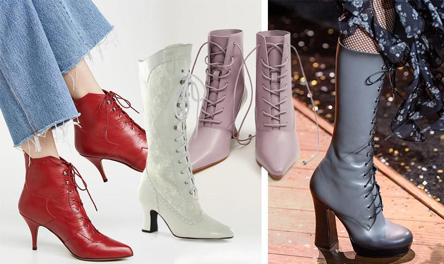 Οι μπότες και τα μποτίνια που εμπνέονται από τη βικτωριανή εποχή είναι από τους πρωταγωνιστές της σεζόν! Κόκκινα μποτίνια, Tabitha-Simmons // Λευκές με δαντέλα, Rebecca // Σε ροζ- μοβ, Mango // Γκρι με χοντρό τακούνι, Michael Kors