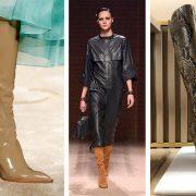 Οι μπότες κυριάρχησαν στις πιο σημαντικές πασαρέλες και σε διάφορες εκδοχές. Λουστρίνι με ξύλινο λεπτό τακούνι, Fendi // Σε καμηλό χρώμα από σουέντ, Hermes // Από φίδι και ψηλές πάνω από το γόνατο, Gianvitto Rossi