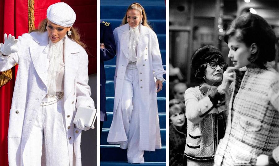 Η εκπληκτική ολόλευκη εμφάνιση της Τζένιφερ Λόπεζ με μπουκλέ πανωφόρι του οίκου Chanel έκλεψε τις εντυπώσεις στην ορκωμοσία του νέου Αμερικανού Προέδρου // Η Coco Chanel με το εμβληματικό μπουκλέ τουίντ σακάκι και ταγιέρ της επί τω έργω…