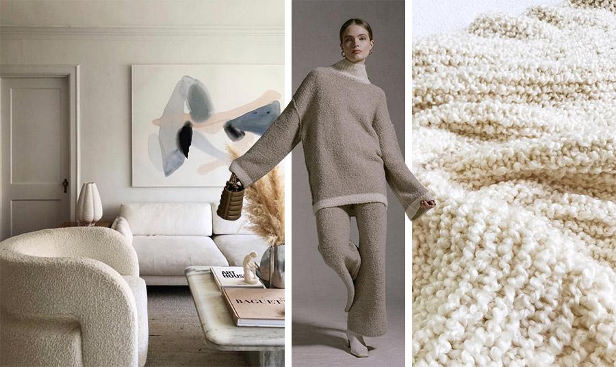 Το μπουκλέ ύφασμα σε ταπετσαρίες για τον καναπέ ή τις πολυθρόνες αλλά και σε σκαμπό είναι η πρόταση της διακόσμησης για φέτος // Υιοθετήσετε το σε κουβέρτες και μαξιλάρια για μια πολυτελή και όμορφη κρεβατοκάμαρα