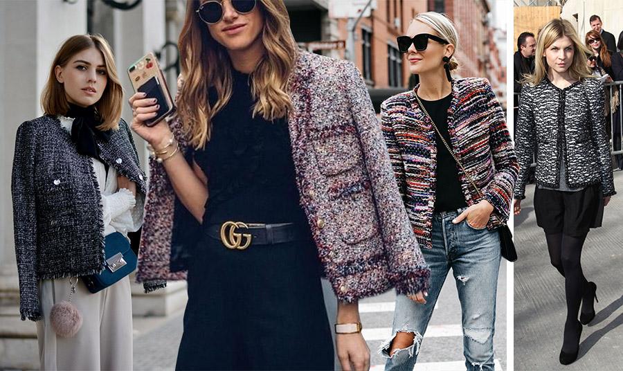 Το τουίντ μπουκλέ σακάκι είναι ένα διαχρονικό κομμάτι που φοριέται από τις γυναίκες απανταχού στη Γη. Είτε με τζιν, είτε με υφασμάτινο παντελόνι, πάνω από ένα μαύρο φόρεμα ή με τη μίνι ή μακριά φούστα μας, δεν θα μας προδώσει ποτέ! Φέτος, είναι και η τελευταία λέξη της μόδας