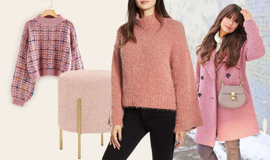 Οι αποχρώσεις του ροζ «παίζουν» δυνατά! Από ένα ανοιξιάτικο πουλόβερ (για την επόμενη σεζόν) μέχρι ένα πουλόβερ ή ένα πανωφόρι για τη χειμερινή εποχή // Σκαμπό σε παστέλ ροζ, Baltimore
