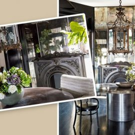 Στην τραπεζαρία οι ξύλινες καρέκλες συνδυάζονται με το κατά παραγγελία μεταλλικό τραπέζι, ενώ το vintage φανάρι- φωτιστικό δημιουργεί μία άλλη αίσθηση. Τα φυτά και τα λουλούδια συμπληρώνουν την ιδιαίτερη ατμόσφαιρα του χώρου