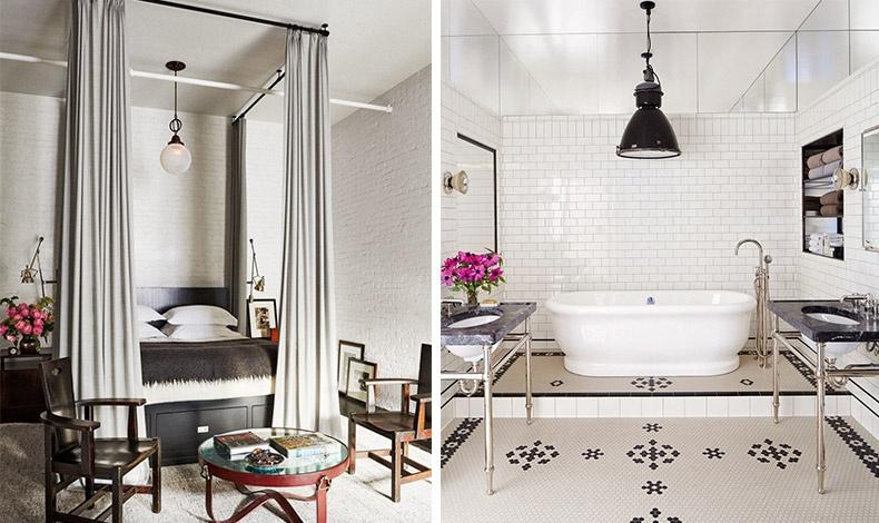 Στην τεράστια κύρια κρεβατοκάμαρα κυριαρχούν τα ορατά τούβλα βαμμένα σε λευκό που δίνουν αυτή την αίσθηση του βιομηχανικού χώρου αλλά με ήπιο τρόπο // Στο κύριο μπάνιο κυριαρχούν και πάλι τα λευκό με το μαύρο, ενώ αδιαμφισβήτητα πρωταγωνιστεί η μπανιέρα
