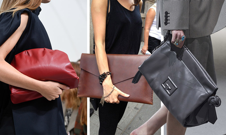 Mία κατακόκκινη μεγάλη τσάντα-σαν μαξιλαράκι- όπως του οίκου Celine μπορεί να συνοδεύσει τέλεια το μαύρο σας φόρεμα και σε πιο επίσημη εκδήλωση // Ένας μεγάλος φάκελος είναι τέλεια επιλογή για το γραφείο // Κρατήστε μία μεγάλη τσάντα (Givenchy) με το ταγιέρ σας