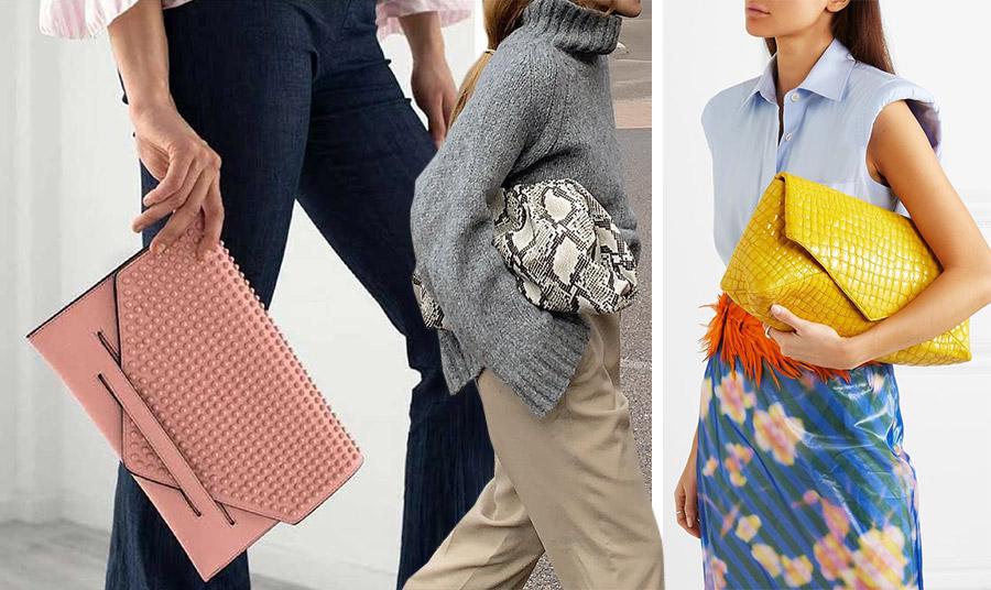 Τα clutch σε μεγάλο μέγεθος είναι για διάφορες εμφανίσεις. Κρατήστε το με το τζιν παντελόνι σας, σαν «μαξιλαράκι» ανάμεσα στο βραχίονα και το σώμα σας ή διαλέξτε ένα έντονο χρώμα, όπως το κίτρινο clutch Dries Van Noten