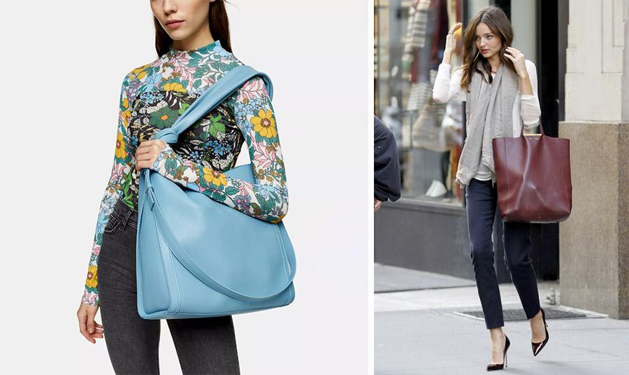 Οι μεγάλες τσάντες είτε στον ώμο (όπως η γαλάζια από το Topshop), είτε περασμένες στο χέρι μας όπως την κρατά η Miranda Kerr είναι της μόδας