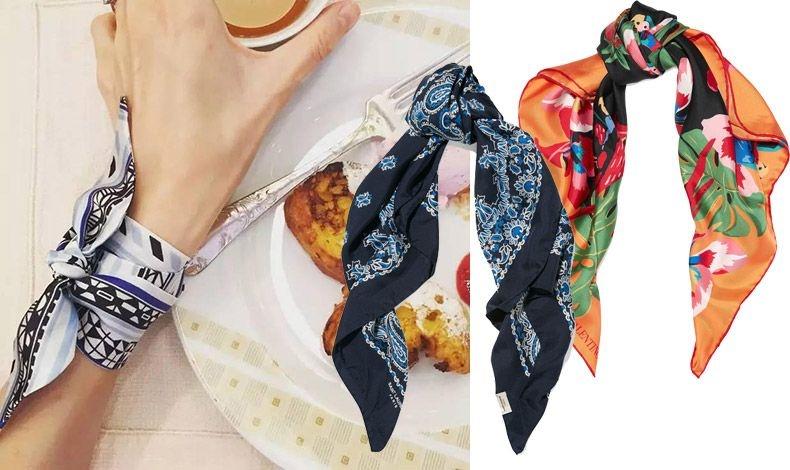 Δέστε το σαν περικάρπιο στο χέρι // Σε μπλε-γαλάζιο, Saint Laurent // Σε ζωηρά χρώματα, Valentino