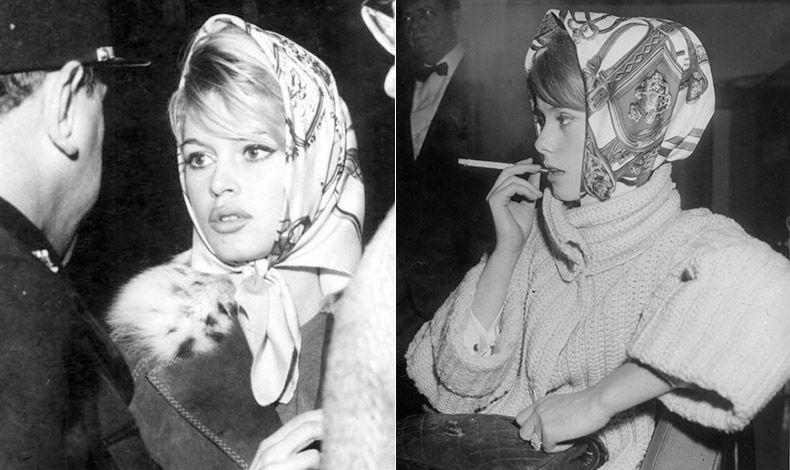 Η Μπριζίτ Μπαρντό με φουλάρι. Η Γαλλίδα σταρ υπήρξε μία από τις πρώτες που το φόρεσαν // Η Κατρίν Ντενέβ λάτρεψε και αυτή τα μεταξωτά φουλάρια σε νεαρή ηλικία