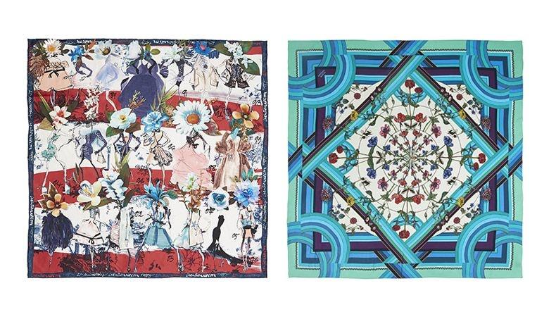 Μεγάλο καρέ με έντονα prints, Christian Lacroix // Μεταξωτό με υπέροχα λουλουδάτα μοτίβα, Silken Favours