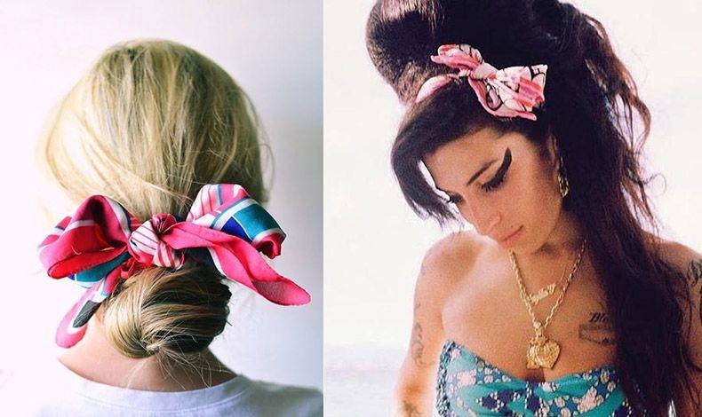 Δέστε μία αλογοουρά ή ένα χαμηλό σινιόν με ένα φουλάρι // Ή πάλι φορέστε το σαν κορδέλα στα μαλλιά, όπως η Έιμι Γουάινχαουζ