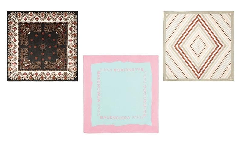 Φουλάρια σε διαφορετικές εκδοχές. Φλοράλ και κλασικό, Givenchy // Παστέλ, Balenciaga // Σε γεωμετρικά μοτίβα, Valentino