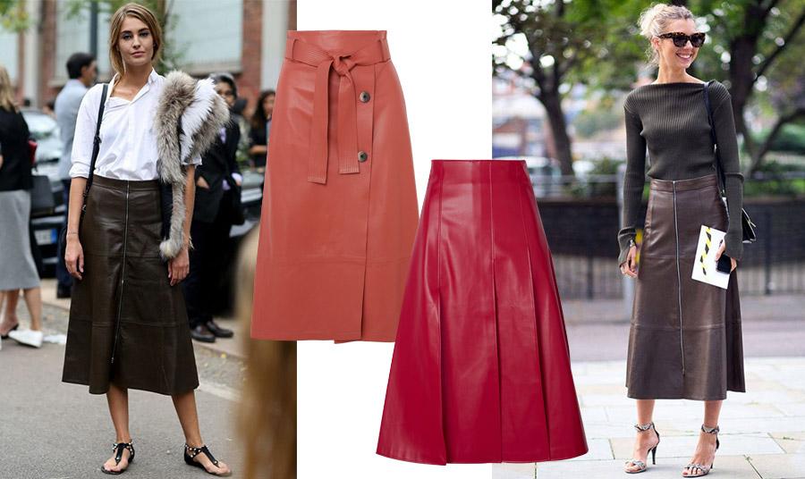 Το φετινό καλοκαίρι… έχει δέρμα! Μίντι δερμάτινη φούστα με φλατ σανδάλια είναι στην επικαιρότητα // Το ίδιο και το χρώμα! Δερμάτινη φούστα σε «καμένο» πορτοκαλί, Zeynep Mode ή μία εντυπωσιακή κόκκινη δερμάτινή με πτυχώσεις, A.W.A.K.E Μode; // Σίγουρα, μία δερμάτινη μίντι φούστα θα φορεθεί τέλεια και την επόμενη σεζόν!