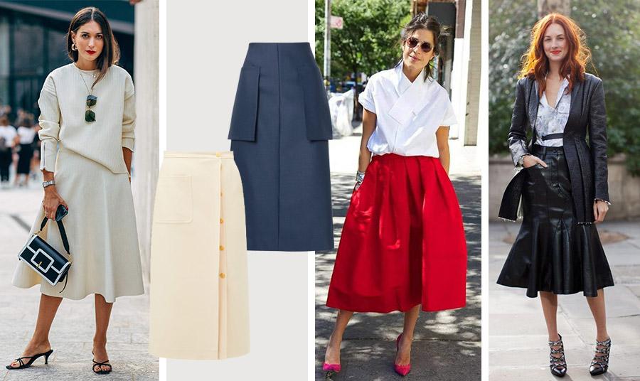 Λευκό και μαύρο, απλά αξεπέραστο. Η μίντι… εκδοχή του γραφείου // Σκούρο μπλε μίντι φούστα, The Row // Κρεμ φούστα με χρυσά κουμπιά, Gucci // Μία κόκκινη φούστα με λευκό πουκάμισο αλλά και μία δερμάτινη εμφάνιση για τις επαγγελματικές και όχι μόνο υποχρεώσεις