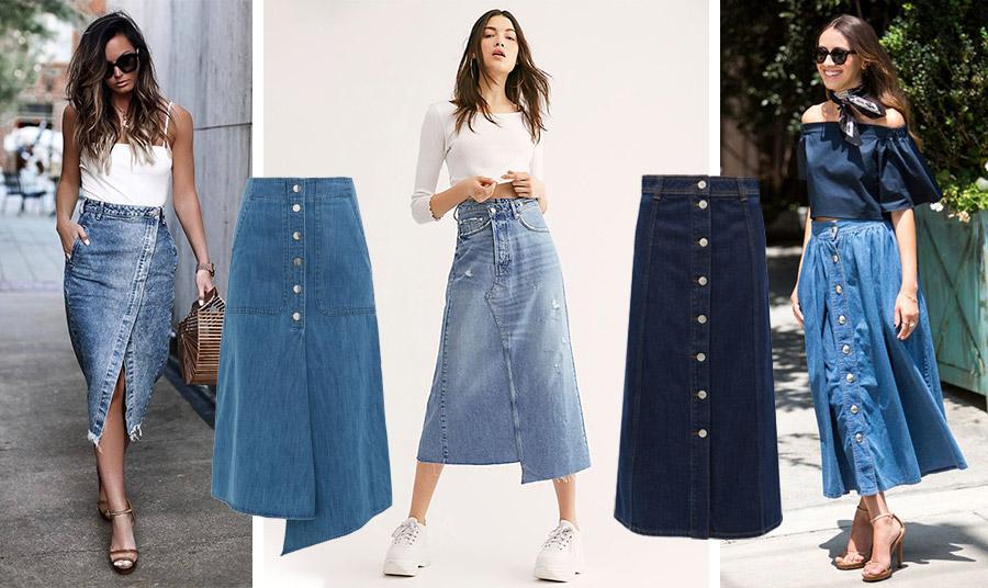 Τζιν για πάντα! Η μίντι τζιν φούστα έρχεται κατευθείαν από τα 90s στο σήμερα // Τζιν ασύμμετρη φούστα, Tibi // Φορέστε την μίντι τζιν σας με ένα απλό βαμβακερό μπλουζάκι και τα αθλητικά σας για το πρωί και την εξοχή  //Σε σκούρο ντένιμ με κουμπιά και ίσια γραμμή, Ganni // Με ένα έξωμο crop top και τα ψηλοτάκουνα πέδιλά σας για όλες τις ώρες της ημέρας