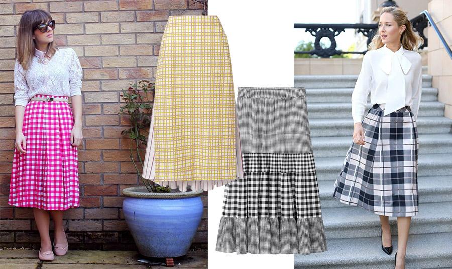 Τα καρό πρωτοστατούν! Επιλέξτε το δικό σας χρώμα καρό και στη μίντι φούστα σας // Κίτρινη καρό διπλή φούστα, Rosie Assoulin // Μαύρο-λευκό καρό σε μία ρομαντική εκδοχή, Uniqlo // Μία καρό μίντι φούστα με ένα λευκό πουκάμισο και τις μαύρες γόβες σας για να δείχνετε παντού και πάντα καλοντυμένη