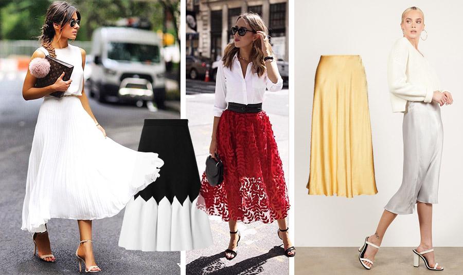 Μία αιθέρια πλισέ μίντι φούστα με τα ψηλοτάκουνα πέδιλά σας μπορεί να σας πάει από το πρωί έως το βράδυ! // Ασπρόμαυρη μίντι φούστα, Alexander McQueen // Φορέστε μία δαντελένια φούστα, σε κόκκινο για τις πιο τολμηρές, λευκό πουκάμισο και μαύρα αξεσουάρ και αποκλείεται να περάσετε απαρατήρητη // Σε χρυσαφί μεταξωτό γυαλιστερό ύφασμα, Samsoe // Μία σατέν μίντι φούστα είναι της μόδας