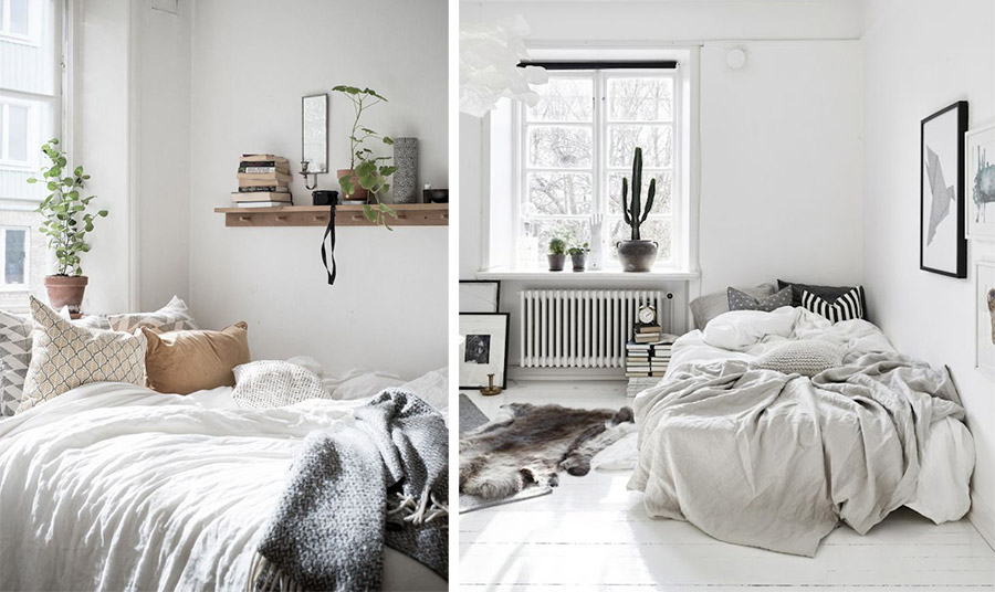 Ανοιχτόχρωμα έπιπλα και τοίχοι είναι σημαντικοί παράγοντες για να κάνουν το δωμάτιο να φαίνεται πιο μεγάλο και άνετο. Το ίδιο και οι λεπτές κουρτίνες στα παράθυρα ή την μπαλκονόπορτα