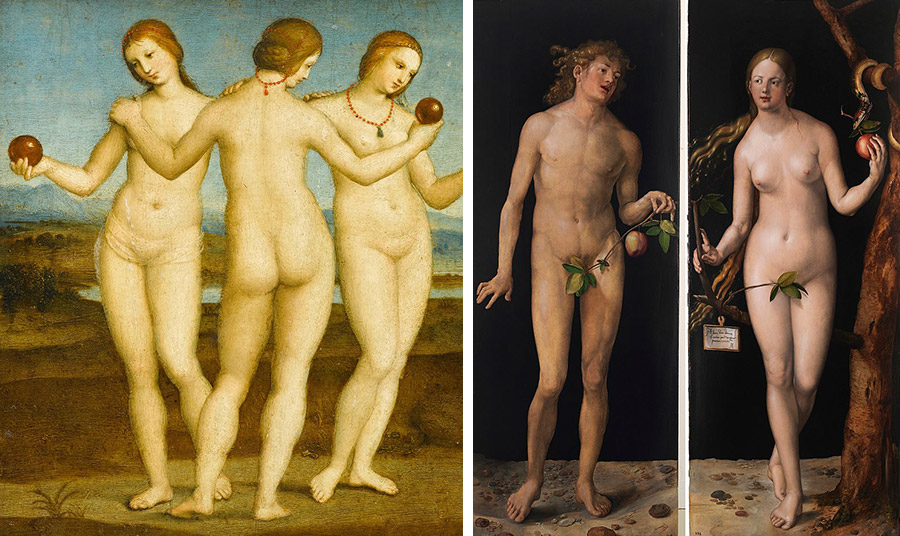 "The Three Graces"" by Raphael // ""Adam and Eve"" by Albrecht_Dürer"