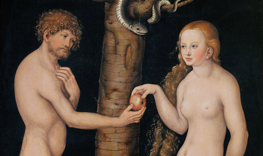 «Eve Offering The Apple to Adam In The Garden of Eden», Cranach Lucas, the Elder, 1520