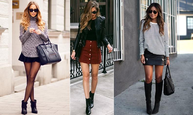 Συνδυάστε τη μίνι εκδοχή της φούστας με μπότες και το look θα είναι φρέσκο, ενδιαφέρον και πολύ πιο μοντέρνο