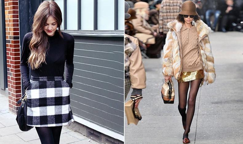 Τα πιο χοντρά καλσόν μπορούν να κάνουν το αποτέλεσμα με τη μίνι φούστα πολύ στιλάτο