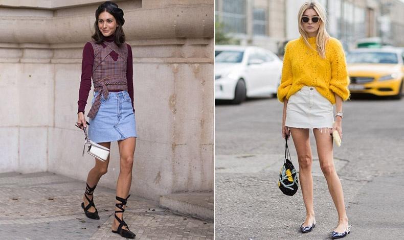 Οι μίνι φούστες με ψηλή μέση είναι πολύ πιο κομψές αλλά και πιο σύχρονες ως τάση // Για να φαίνονται τα πόδια σας πιο μακριά, φορέστε μυτερά φλατ παπούτσια